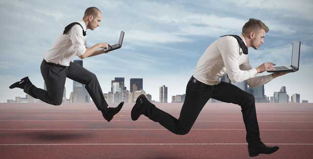 business competition runners with internet