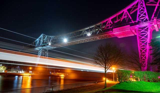 Middlesbrough transporter bridge lit up at night