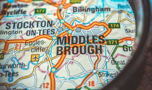 map Middlesbrough area